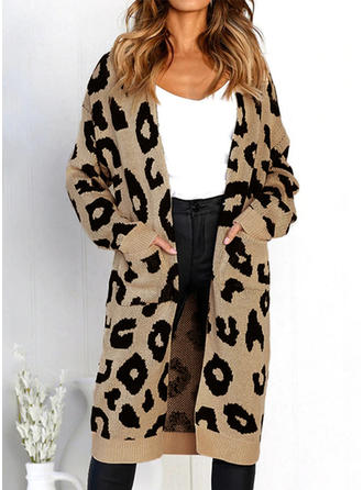 Polyester Cotton Long Sleeves Animal Print Wide-Waisted Coats