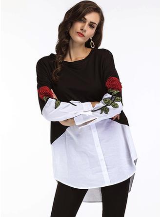 Bawełna Okrągły Dekolt Kwiatowy Długie rękawy Przycisk Up Bluzki