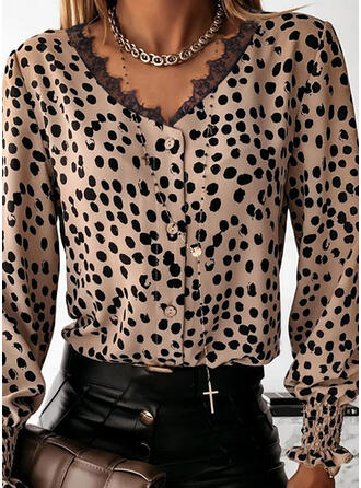 Lace Leopard V-Neck Long Sleeves Button Up Casual Blouses