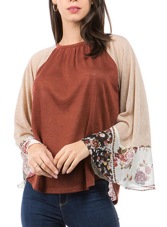 Color Block Round Neck Flare Sleeve Long Sleeves Casual Elegant Blouses