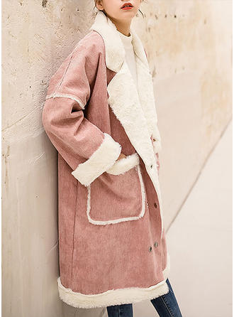 Coton Manches longues Couleur unie Manteaux en Tissu Mixte