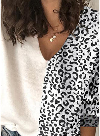 Animal Print Patchwork V-Neck Sweaters