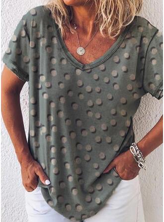 Print PolkaDot V-Neck Short Sleeves Casual T-shirts