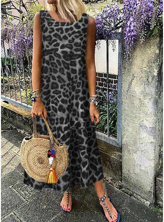 Leopard Sleeveless Shift Casual/Vacation Maxi Dresses