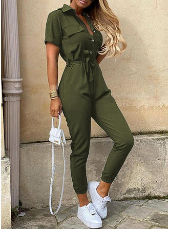 Solid Shirt collar Short Sleeves Casual Elegant Jumpsuit