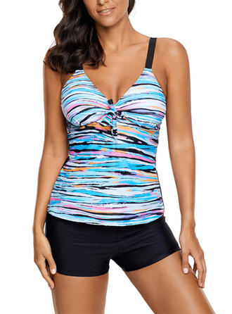 Colorful Strap Beautiful Plus Size Tankinis Swimsuits