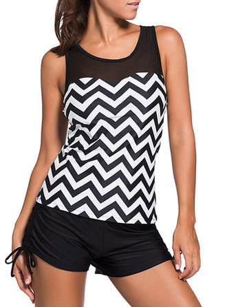 Stripe Top U Neck Elegant Plus Size Tankinis Swimsuits