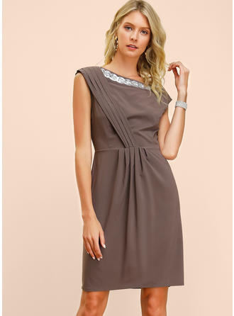 Sequins/Solid Sleeveless A-line Knee Length Casual/Elegant Dresses