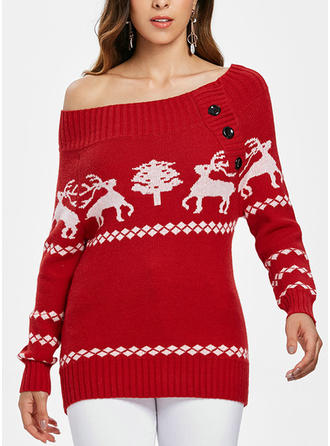 Polyester Off the Shoulder Print Ugly Christmas Sweater