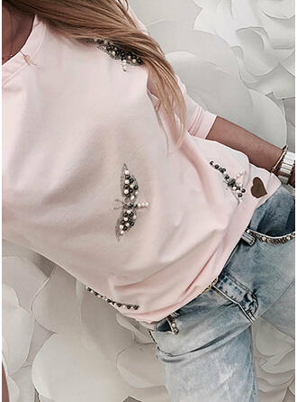Beaded Round Neck Long Sleeves Casual T-shirts
