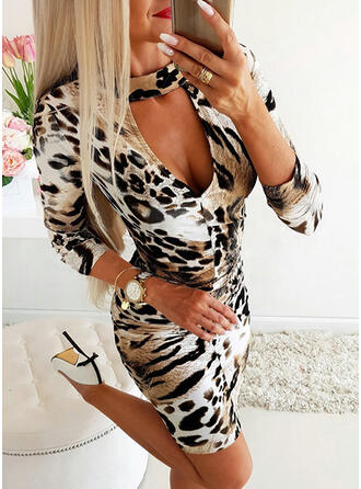Animal Print Long Sleeves Bodycon Above Knee Casual/Elegant Dresses