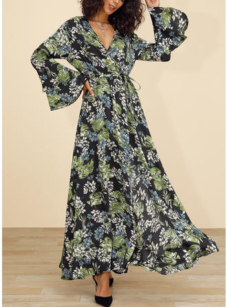 Print/Floral Long Sleeves/Flare Sleeves A-line Maxi Casual/Elegant Dresses