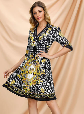 Print 1/2 Sleeves A-line Knee Length Casual/Boho/Vacation Dresses