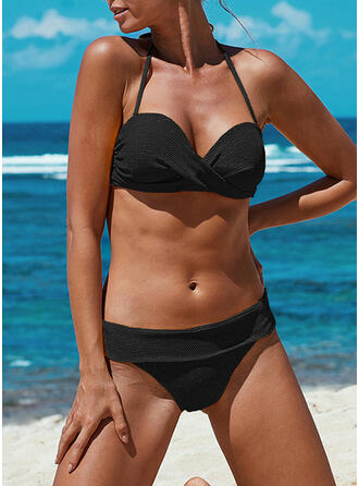 Solid Color Halter Sexy Vintage Bikinis Swimsuits