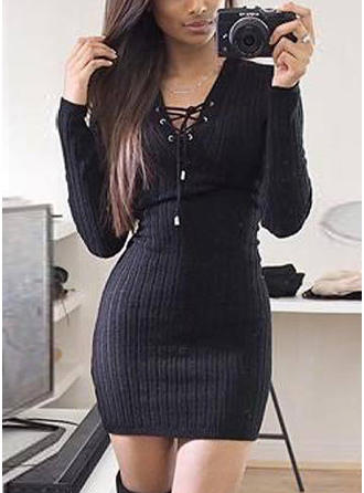 Poliester V-neck Jednolity kolor Sukienka sweterkowa