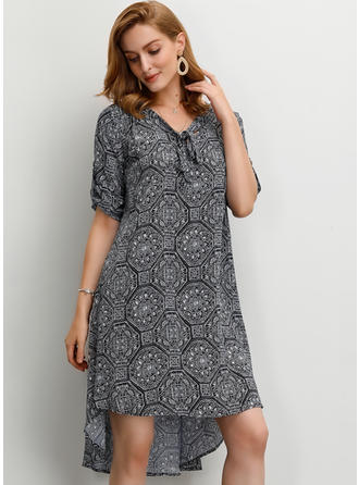 Print 1/2 Sleeves Shift Knee Length Casual/Boho/Vacation Dresses