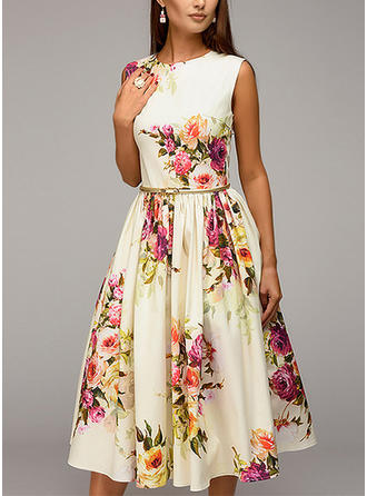 Floral Sleeveless A-line Knee Length Vintage Dresses