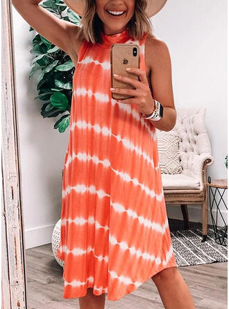 Print/Striped Sleeveless Shift Knee Length Casual/Vacation Dresses