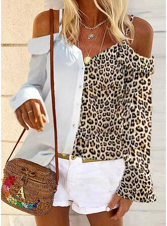Patchwork Leopard Cold Shoulder Long Sleeves Button Up Casual Shirt Blouses