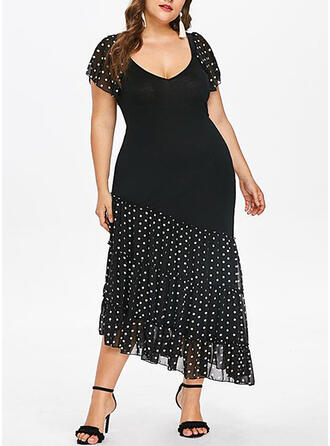 PolkaDot Short Sleeves Sheath Party/Elegant/Plus Size Midi Dresses