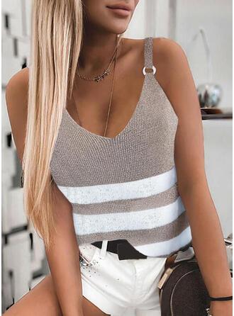 縞模様の Knit スパゲッティストラップ ノースリーブ ()