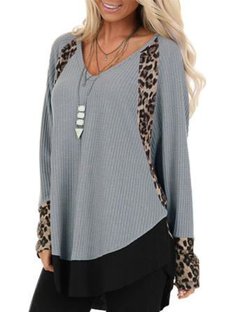 Color Block Animal Print V-neck Long Sleeves Casual Knit Blouses