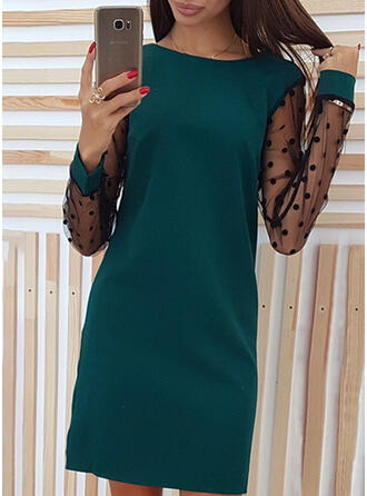 Solid/PolkaDot Long Sleeves Shift Above Knee Casual Dresses