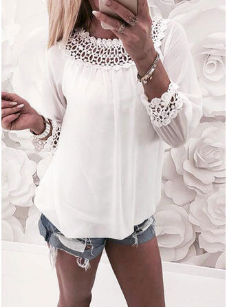 Chiffon Round Neck Plain Long Sleeves Casual Blouses