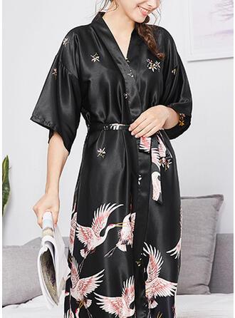 Polyester Floral Deep V Animal Print 1/2 Sleeves Robe