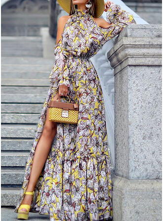 Print Long Sleeves/Cold Shoulder Sleeve A-line Party/Elegant/Vacation Maxi Dresses
