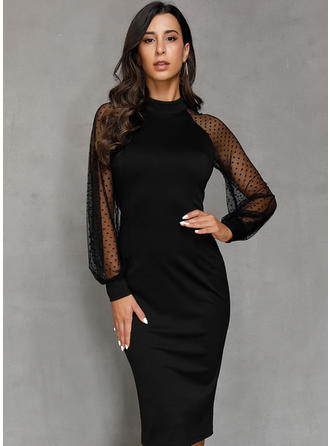Solid Long Sleeves Sheath Midi Little Black/Party Dresses