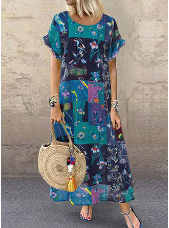 Print/Floral/Patchwork Short Sleeves Shift Casual Dresses