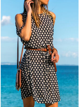 PolkaDot Cold Shoulder Sleeve A-line Above Knee Casual/Vacation Dresses