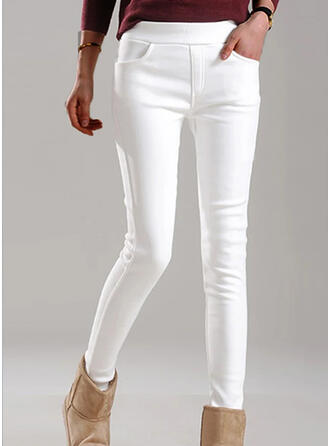 Solid Shirred Plus Size Elegant Skinny Pants