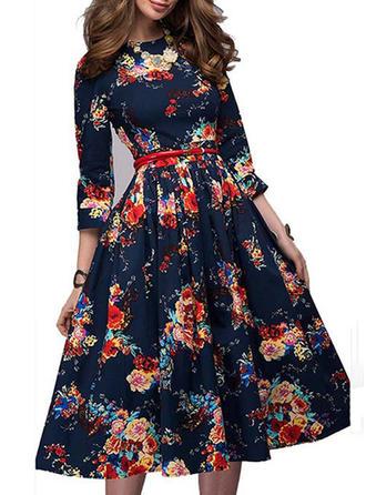 Kwiatowy Okrągły Dekolt Midi Sukienka Trapezowa