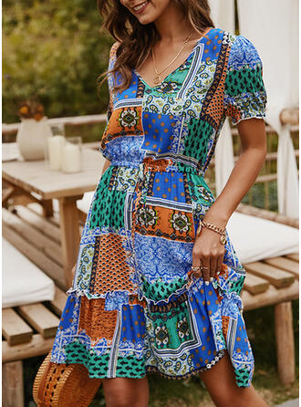 Print/Patchwork Short Sleeves A-line Knee Length Casual/Boho/Vacation Dresses
