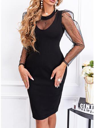 Solid Sequins Long Sleeves Puff Sleeve Sheath Above Knee Little Black/Elegant Dresses