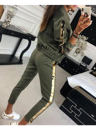 Asymmetrical Long Sleeves Snakeskin Fashionable Top & Pants Sets