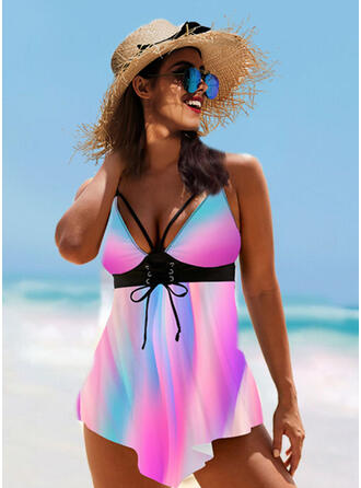 Print Splice color Strap V-Neck Sexy Vintage Swimdresses Swimsuits