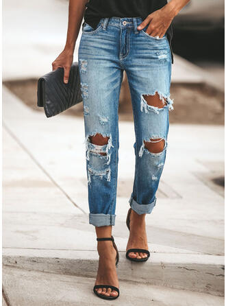 shirred Ripped Lang Casual Jean Almindeligt Denim & Jeans
