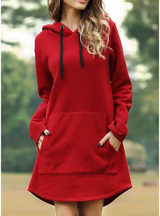 Solide Lange Mouwen Shift Boven de knie Zwart jurkje/Casual Sweatshirts Jurken