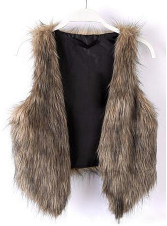 Faux Fur Sleeveless Patchwork Vest
