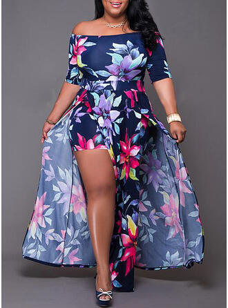 Print/Floral 1/2 Sleeves A-line Party/Elegant/Plus Size Maxi Dresses