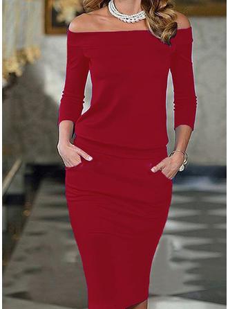 Solid 3/4 Sleeves Bodycon Midi Sexy/Elegant Dresses