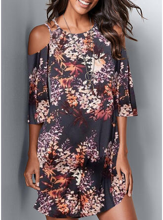 Print/Floral 1/2 Sleeves/Cold Shoulder Sleeve Sheath Above Knee Casual/Boho/Vacation Dresses
