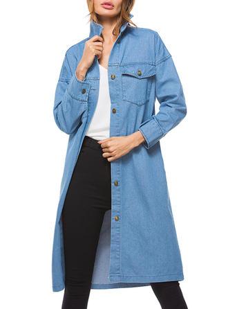 Denim Long Sleeves Plain Denim Coats