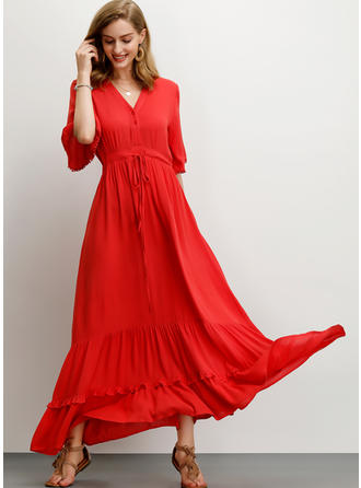 Solid 1/2 Sleeves A-line Maxi Casual/Vacation Dresses