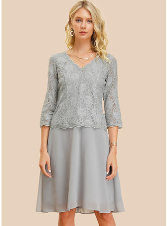 Lace/Solid 3/4 Sleeves Shift Knee Length Casual/Elegant Dresses