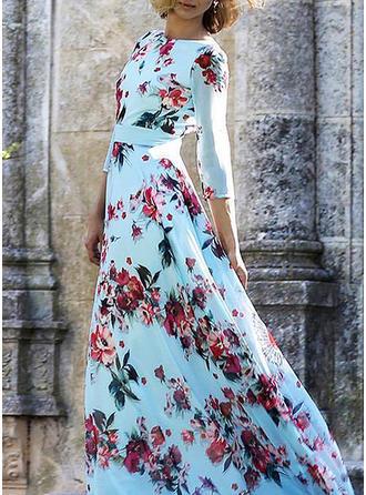 Print Round Neck Maxi A-line Dress