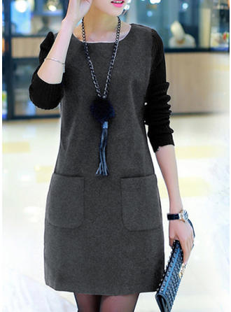 Color Block Long Sleeves Shift Knee Length Casual Dresses